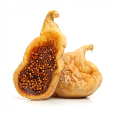 Dried fig fruit on white background