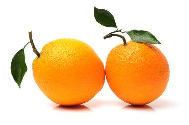 Fresh juicy oranges with leafs