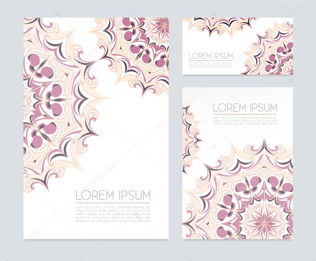 business cards with floral ornaments stock vector sovusha 64373995