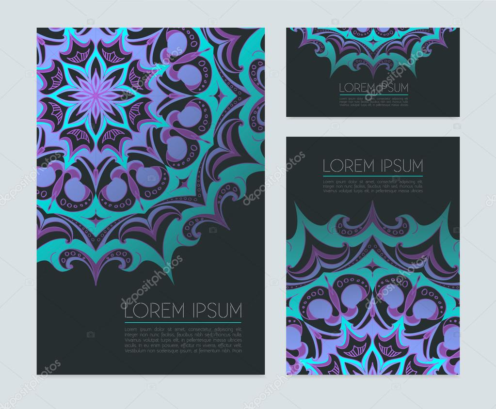 Visitenkarten Mit Neonornamenten Stockvektor Sovusha