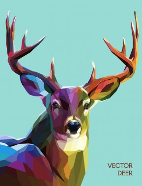 Colorful deer illustration.  Background with wild animal. Low poly deer with horns. stock vector