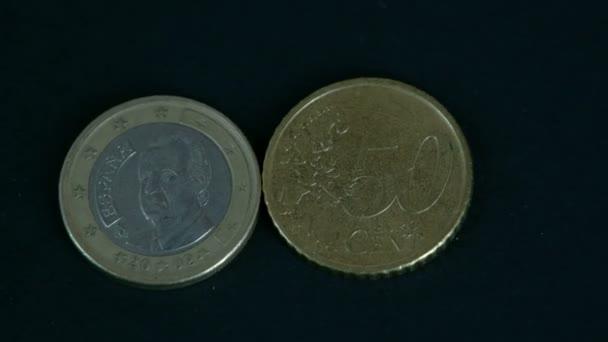 Dvě 50 cent Španělsko Euro mince přední a zadní detail