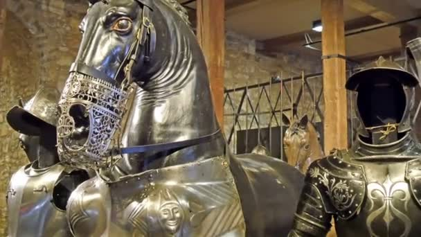 Metal statues of the knights and the horses