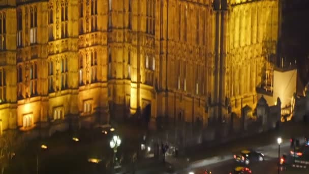 The Palace of Westminster with yellow lights