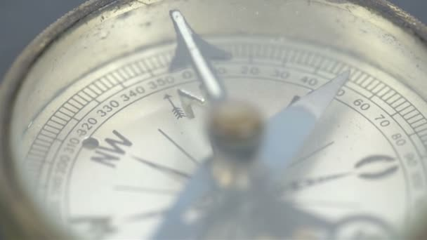 old small round compass on a table