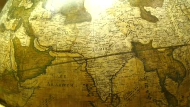 map of India on a round globe