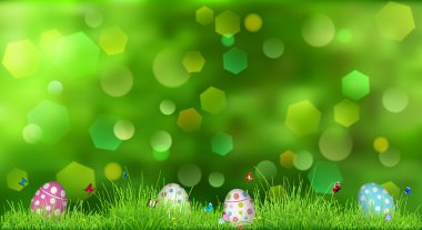 Easter background with green grass