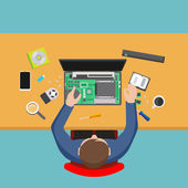 Fotografie Computer-Service. Mann, Reparatur, Computer, Pc-Werkstatt