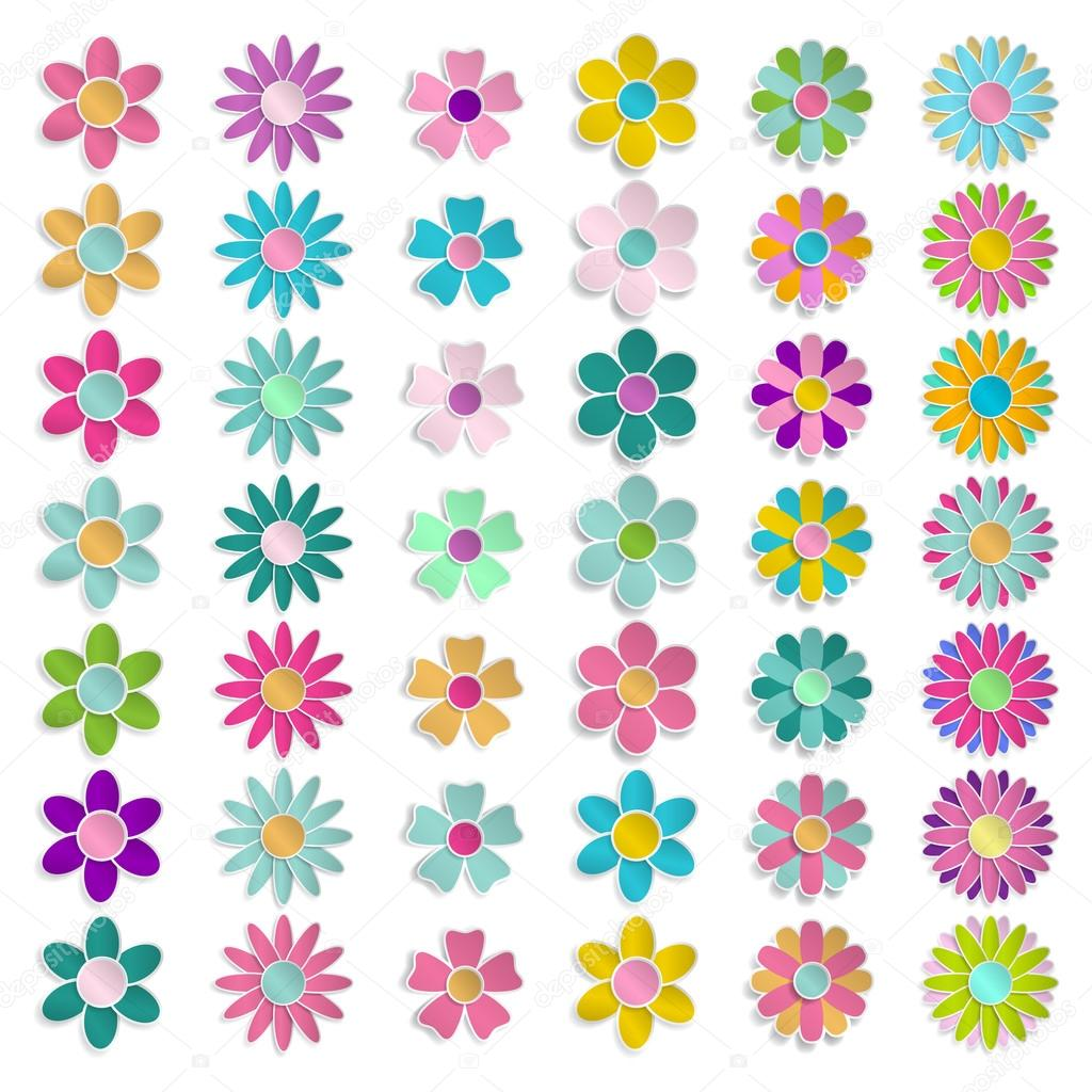 Set Of Multicolored Paper Flowers Stock Vector 31moonlight31