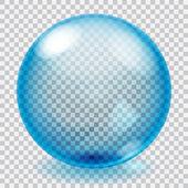 sfera di vetro blu trasparente con graffi