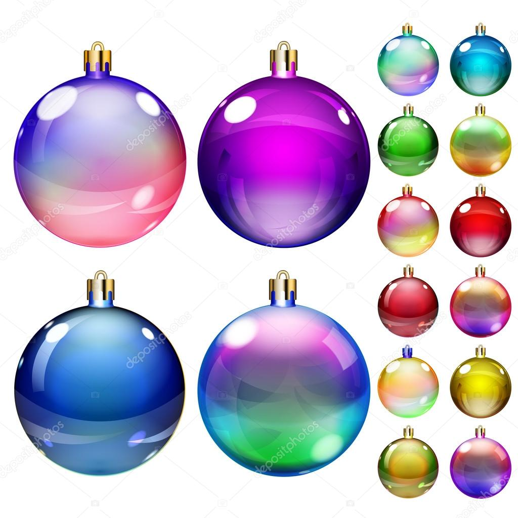 Immagini Di Palline Di Natale.Set Di Palline Di Natale Colorate Opache Vettoriali Stock