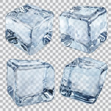 Set of four transparent ice cubes in light blue colors stock vector