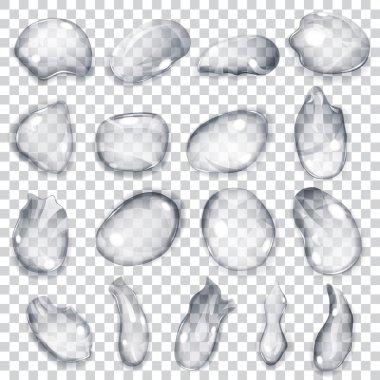 Transparent gray drops