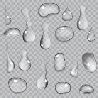 Transparent gray drops