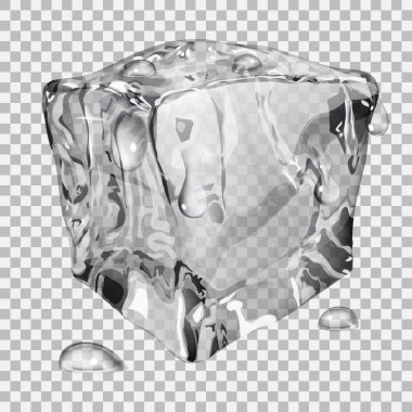 Transparent ice cube with water drops