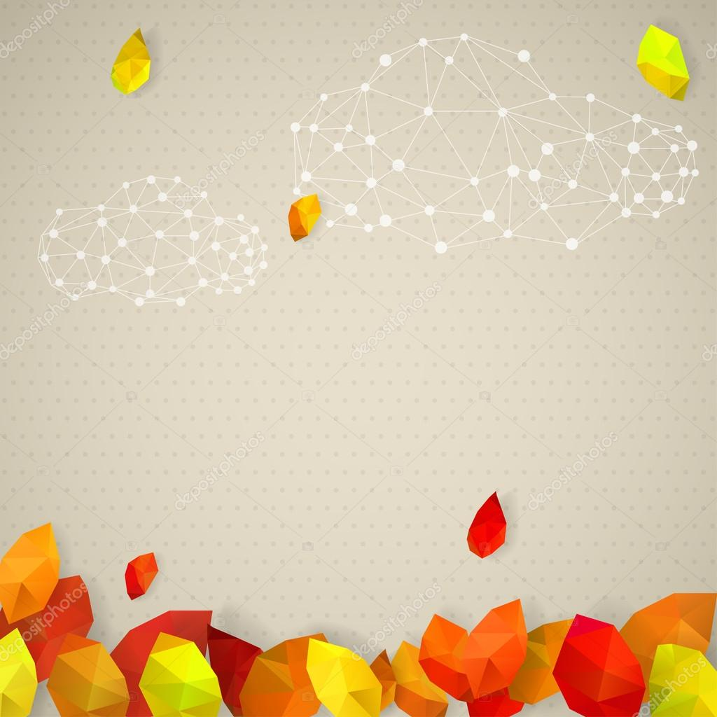 Autumn background with clouds and leaves in low-poly triangular