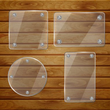 Set of transparent glass plates of different shapes, bolted to wooden planks stock vector