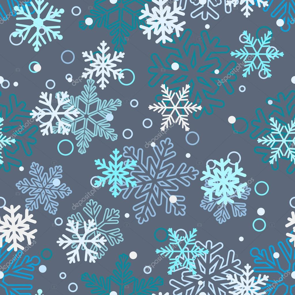 Seamless pattern of snowflakes, white and blue on gray