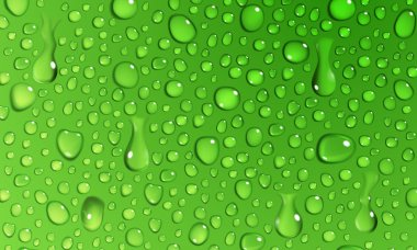 Green background of water drops