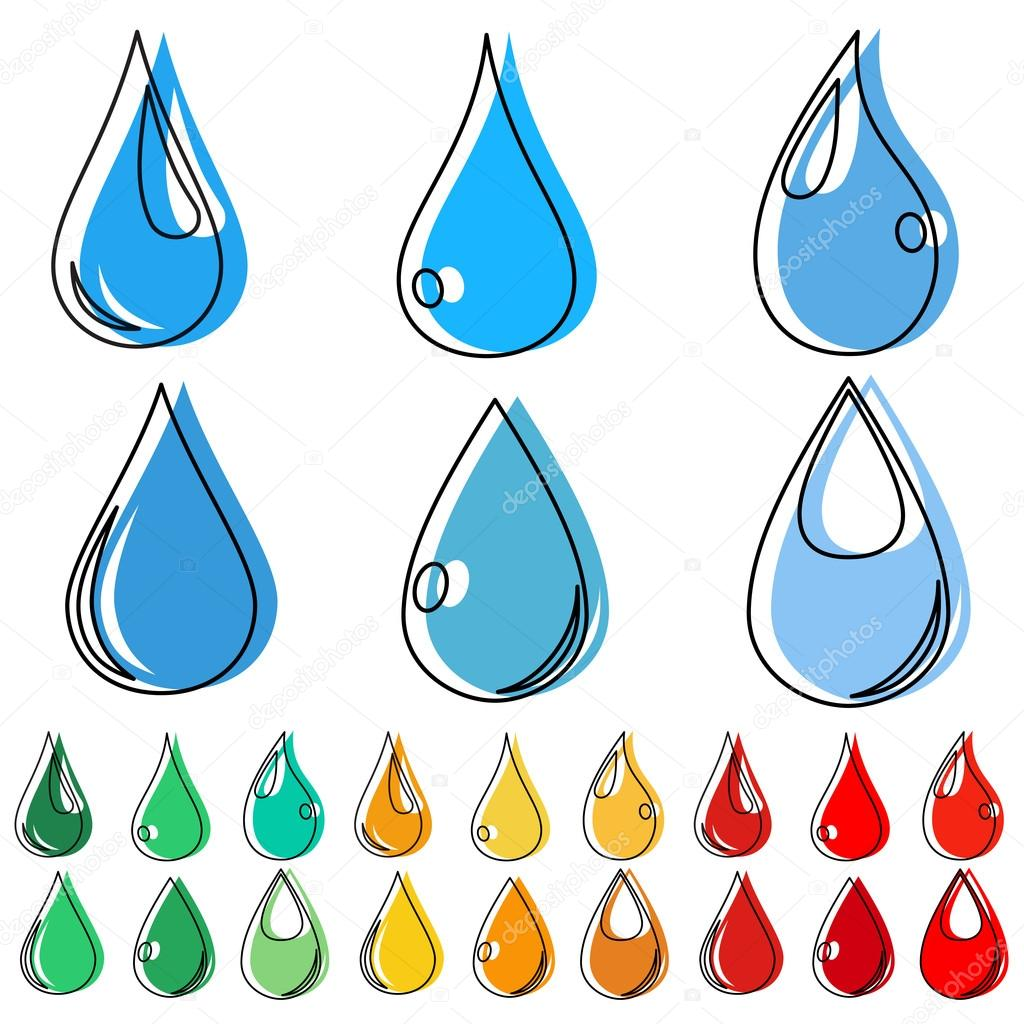 Sets of multicolored water drops