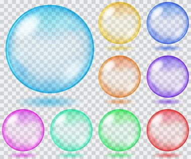 Multicolored transparent spheres. Transparency only in vector