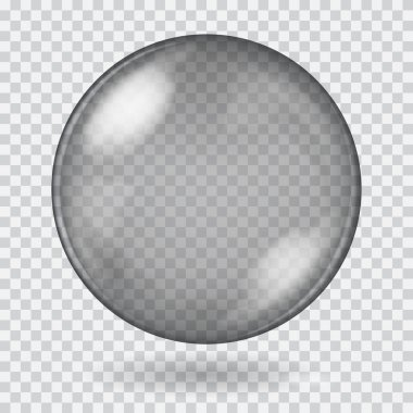 Big black transparent glass sphere. Transparency only in vector