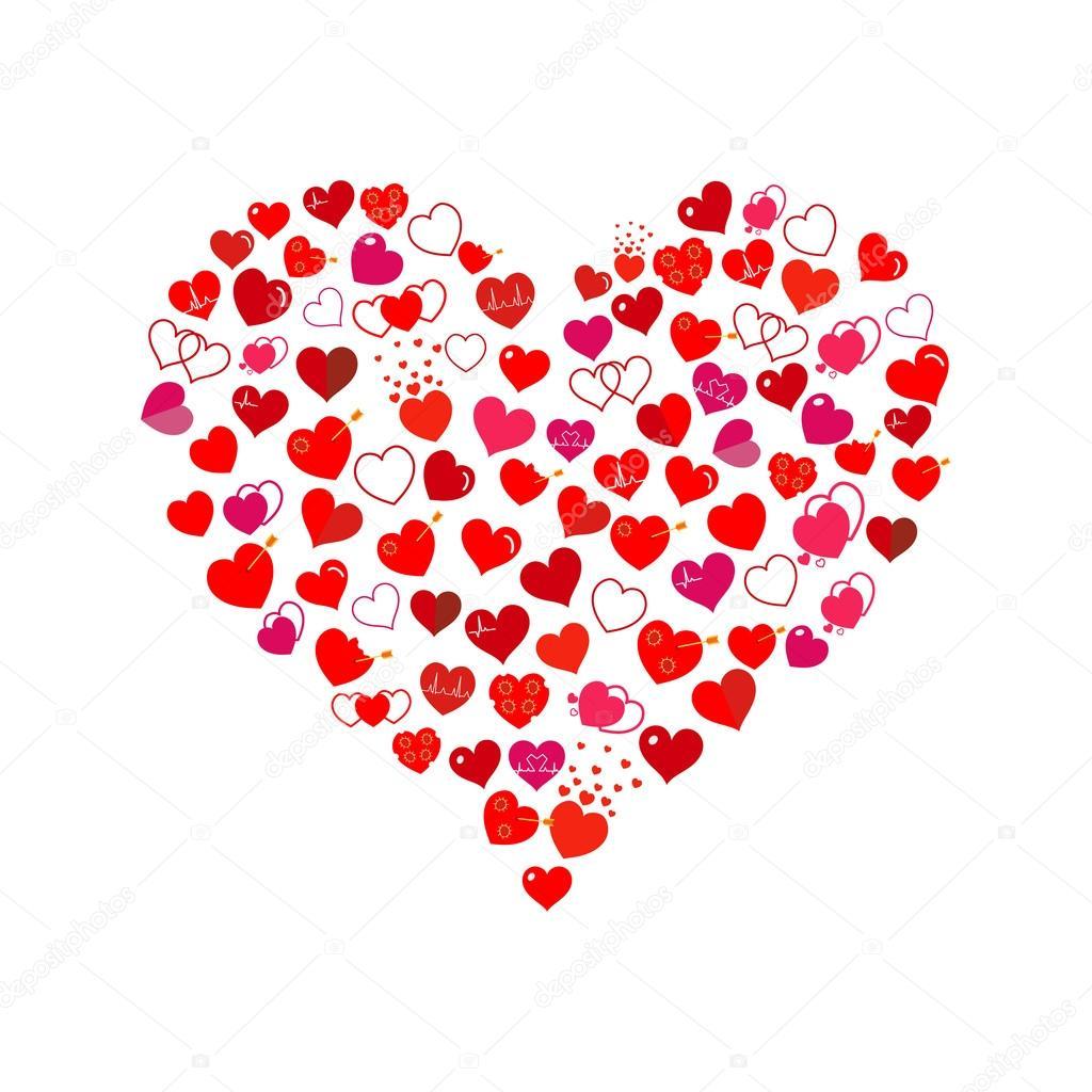 grand coeur fait de petits coeurs design plat image vectorielle 31moonlight31 91475062. Black Bedroom Furniture Sets. Home Design Ideas