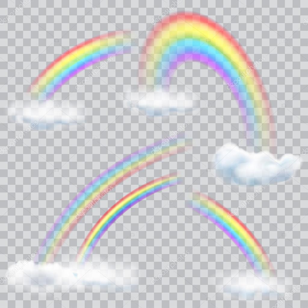 Transparent Rainbows With Clouds Stock Vector