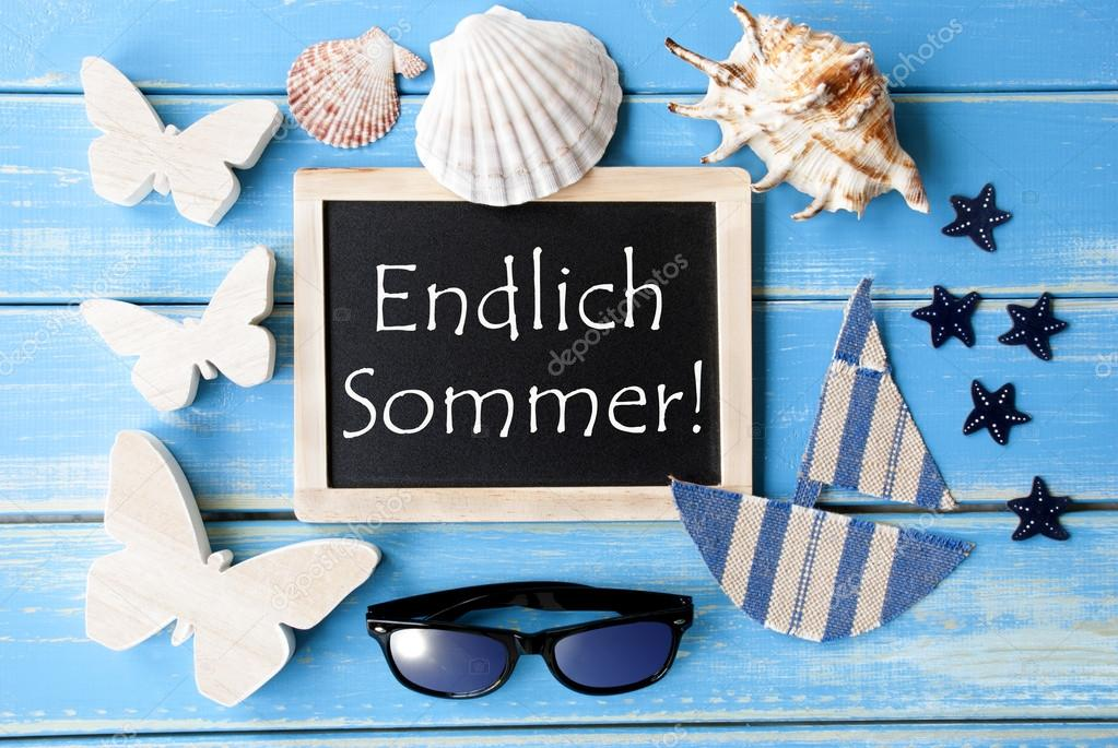 Blackboard With Maritime Decoration Endlich Sommer Means Happy