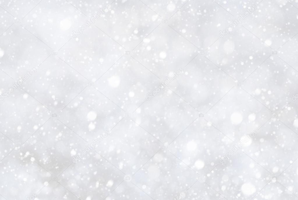 White Christmas Background With Bokeh And Snowflakes Stock