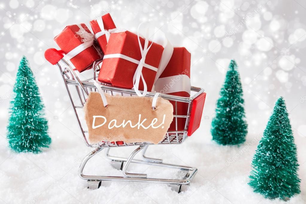 Trolly mit Schnee, Danke Danke Mittel und Weihnachtsgeschenke ...