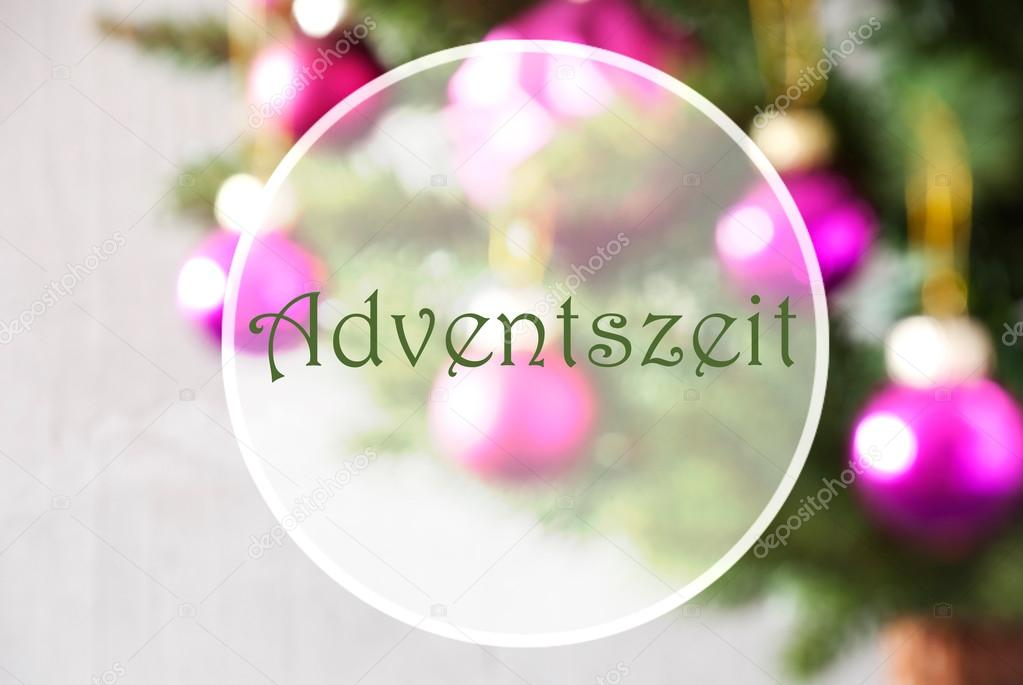 Blurry balls rose quartz adventszeit means advent season stock german text adventszeit means advent season christmas tree with rose quartz balls close up or macro view christmas card for seasons greetings m4hsunfo