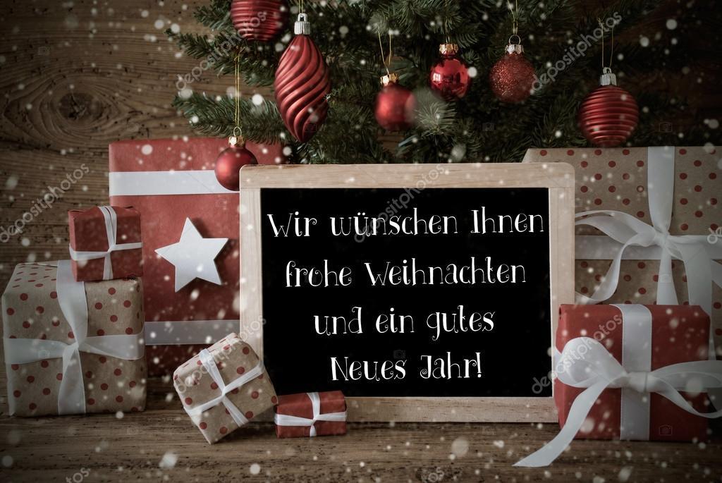 Wir Wünschen Ihnen Frohe Weihnachten Und Ein Glückliches Neues Jahr.Nostalgische Weihnachtsbaum Schneeflocken Frohes Neues Jahr