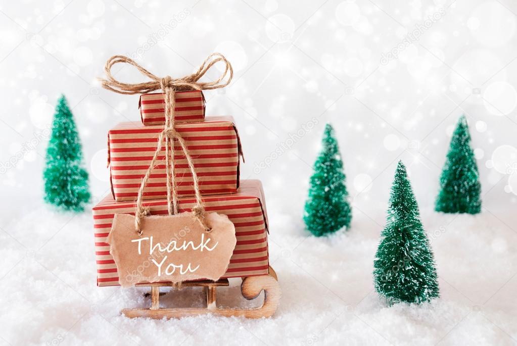 Schlitten im Schnee, danke — Stockfoto © Nelosa #124480582