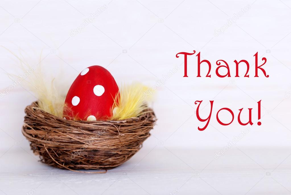 One red easter egg in nest with thank you stock photo nelosa one red dotted easter eggs in easter basket or nest on white wooden background with english text thank you as easter decoration or easter greetings vintage negle Images