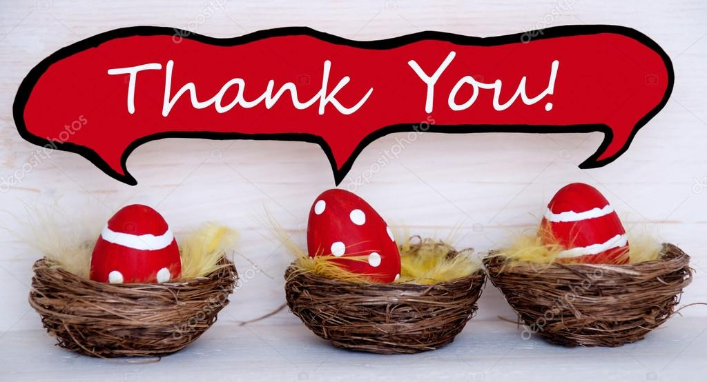 Three red easter eggs with comic speech balloon with thank you three red easter eggs with comic speech balloon with thank you stock photo negle Images