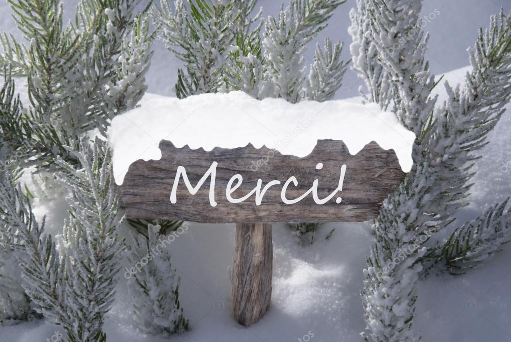 Cartel navidad nieve abeto rbol medios merci gracias - Arbol navidad nieve ...