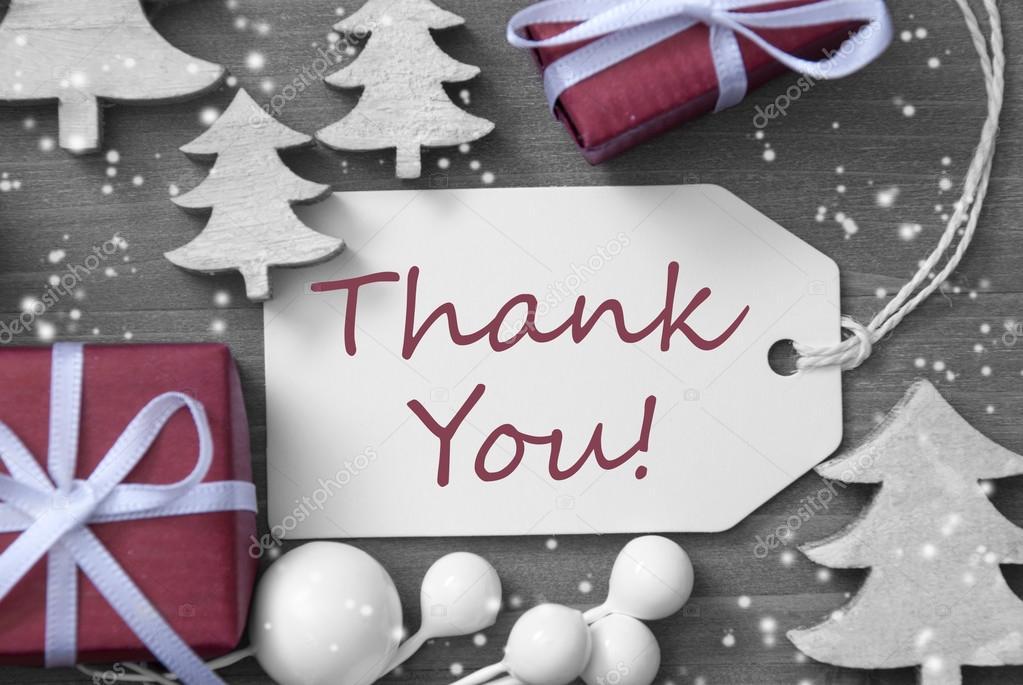 Weihnachten Label-Geschenk-Schneeflocken danken Ihnen — Stockfoto ...