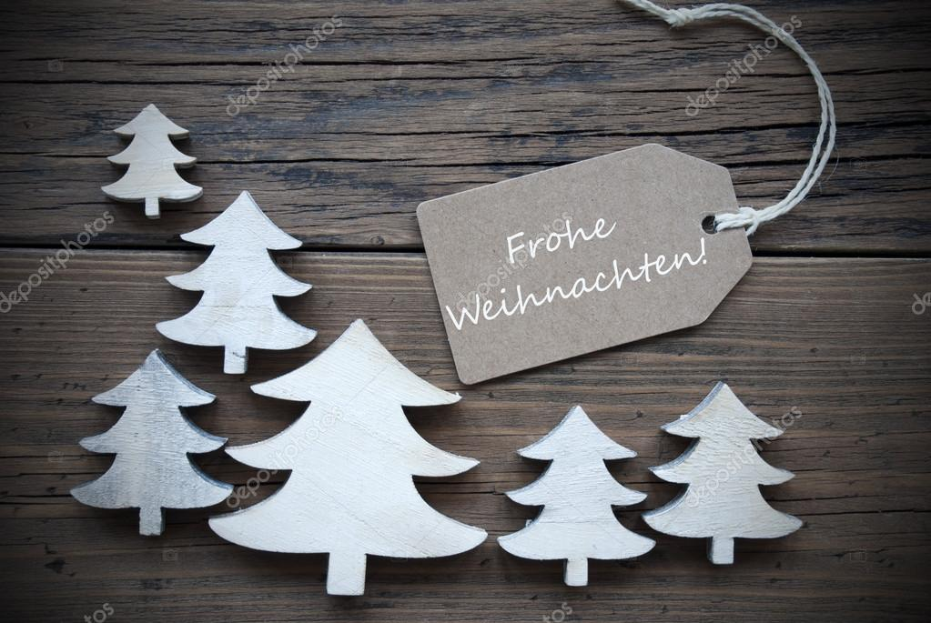 label trees frohe weihnachten mean merry christmas stock. Black Bedroom Furniture Sets. Home Design Ideas