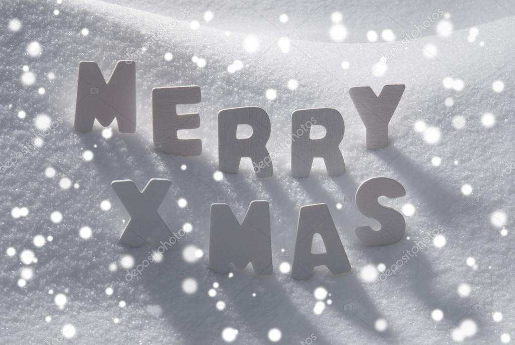 White Christmas Wort Merry Xmas auf Schnee, Schneeflocken ...