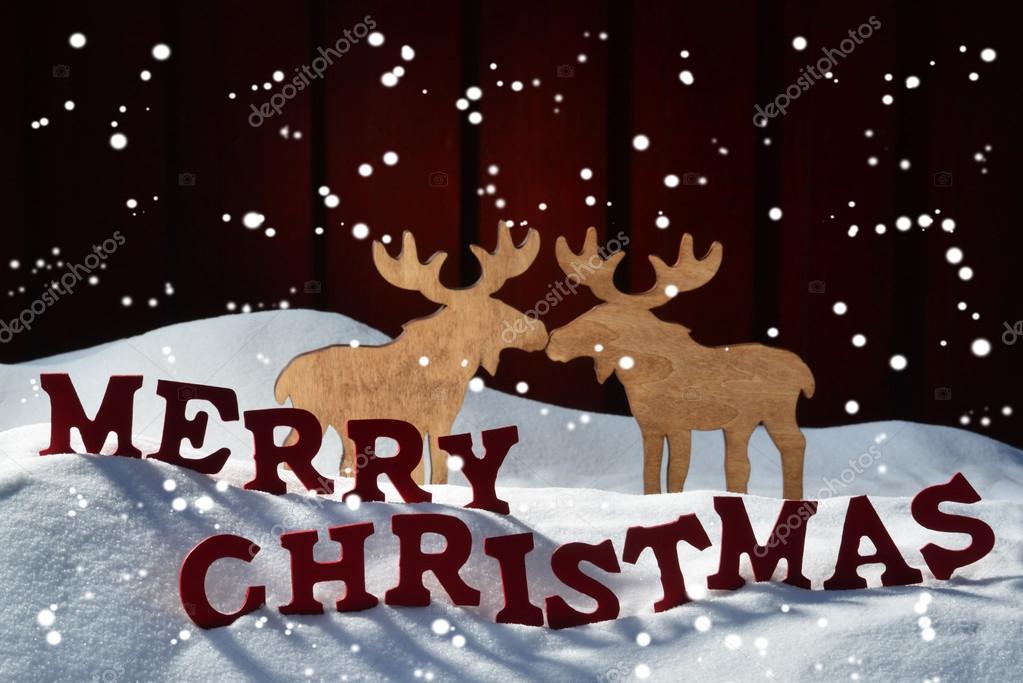 Tarjeta De Navidad En Ingles Tarjeta Carta Roja Alces Par Nieve