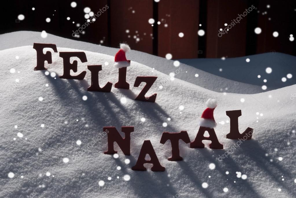 Card With Santa Hat,Snowflake, Feliz Natale Mean Merry Christmas ...