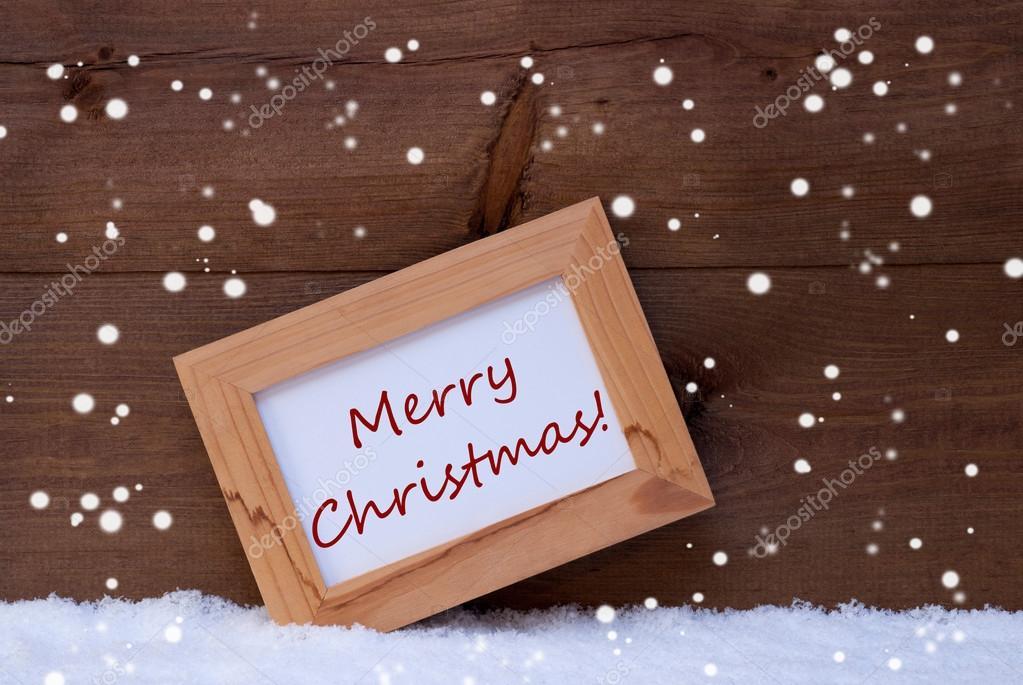 Bilderrahmen mit Text Frohe Weihnachten, Schnee, Schneeflocke ...