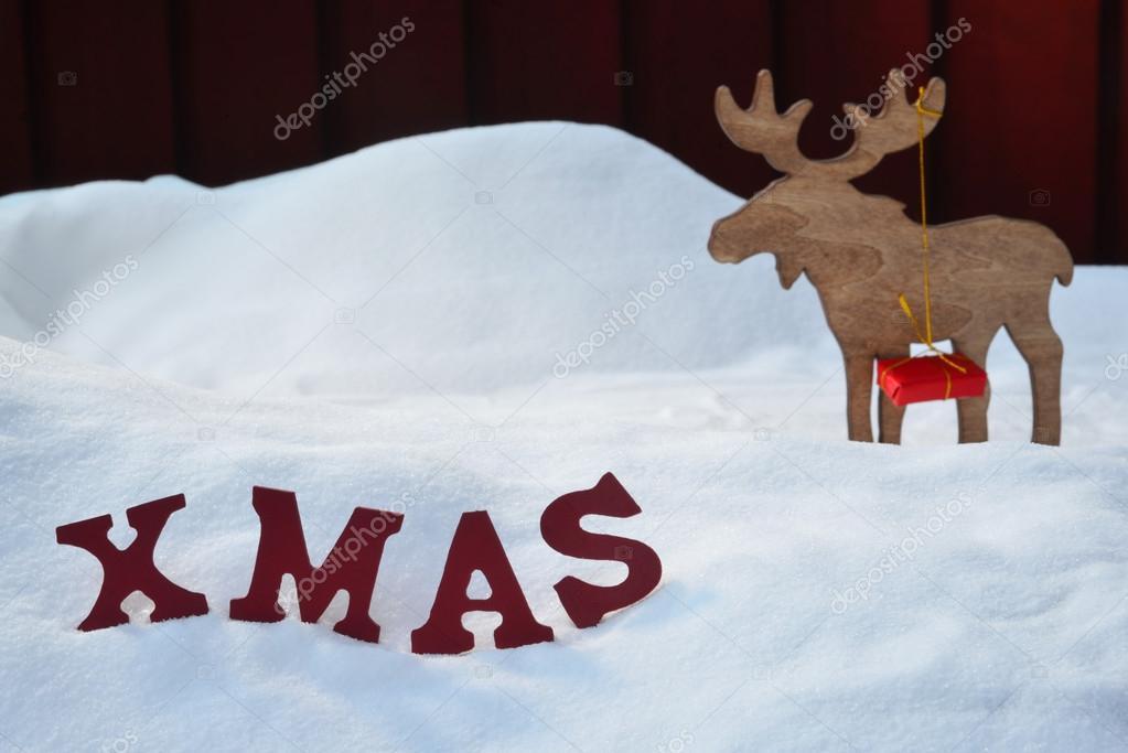 Weihnachtskarte mit Elch und Geschenk, Schnee, Weihnachten ...