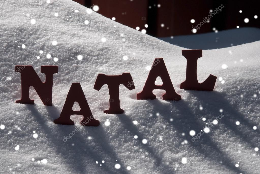 Card With Snow And Word Natal Mean Christmas, Snowflakes — Stock ...