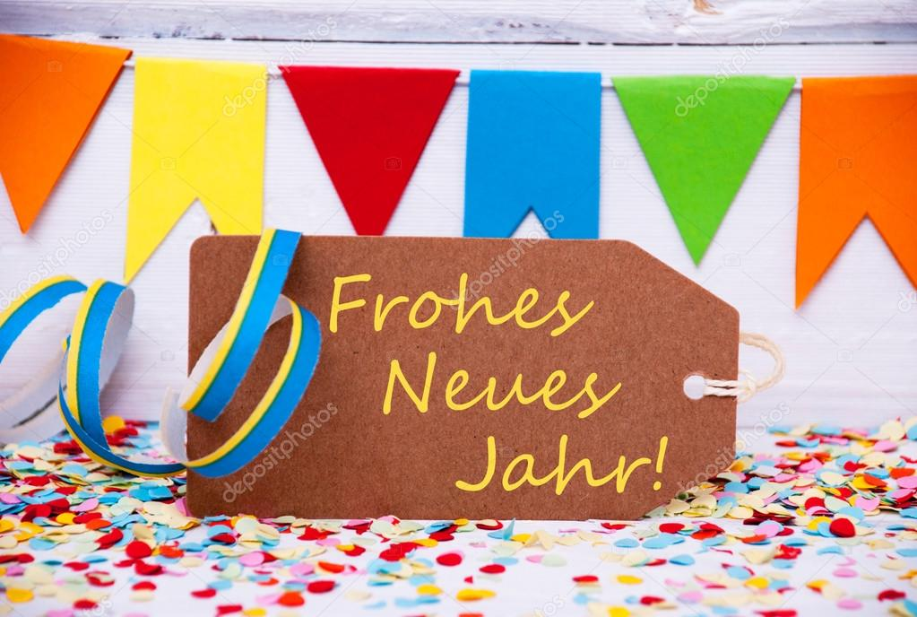 label with party decoration text neues jahr means new year stock photo