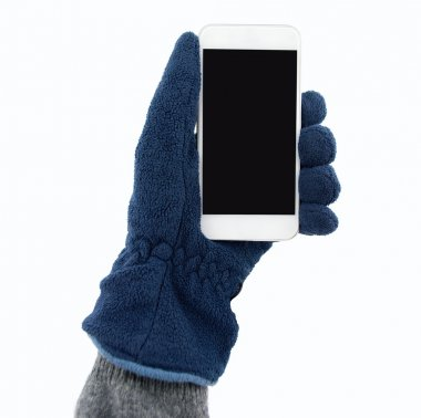holding the smartphone with gloves