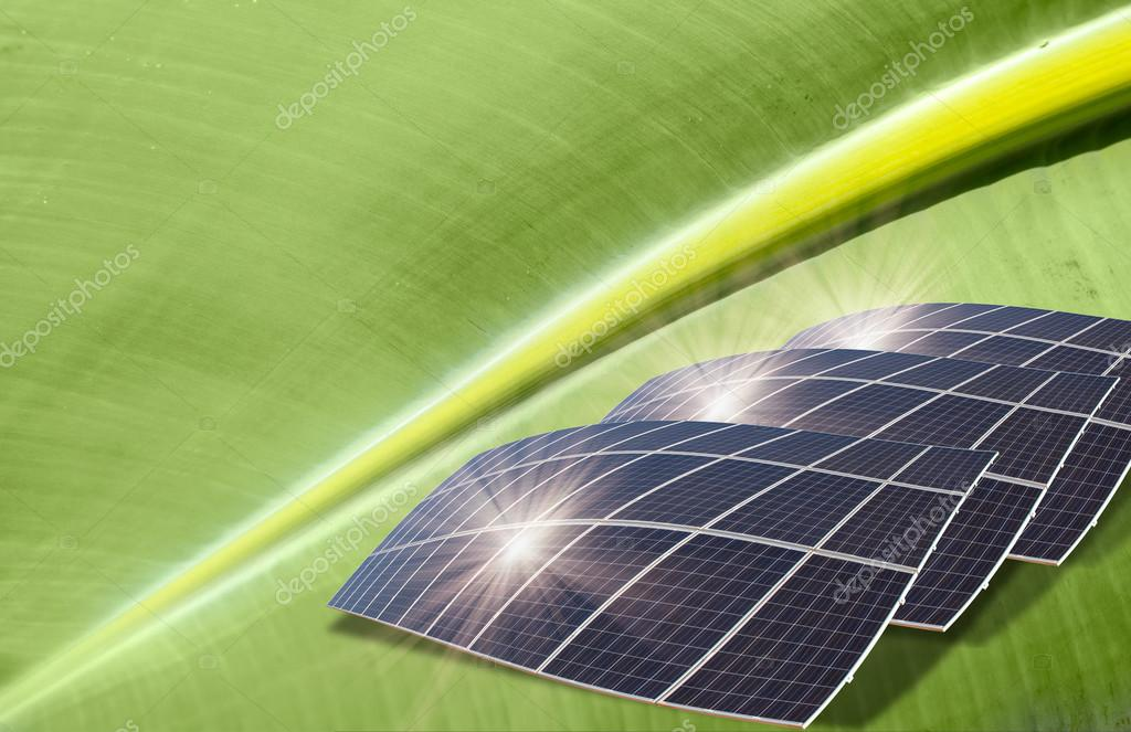 Solar panels on the leaf - Artificial photosynthesis concept