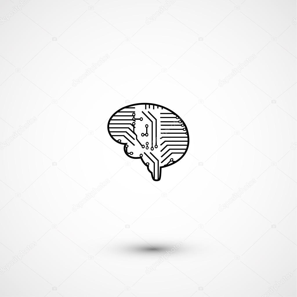 Flat electric circuit brain icon — Stock Vector © YasnaTenDP #56835245
