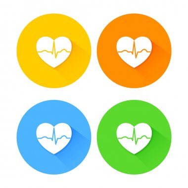 Set of flat long shadow heart icons with ecg beat stock vector